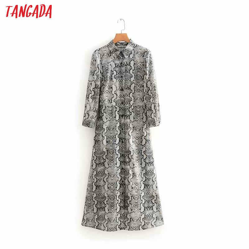 52bbb2a54e8a Tangada women dress snake print shirt dress pleated hem open womens tunics  korean style vintage dresses