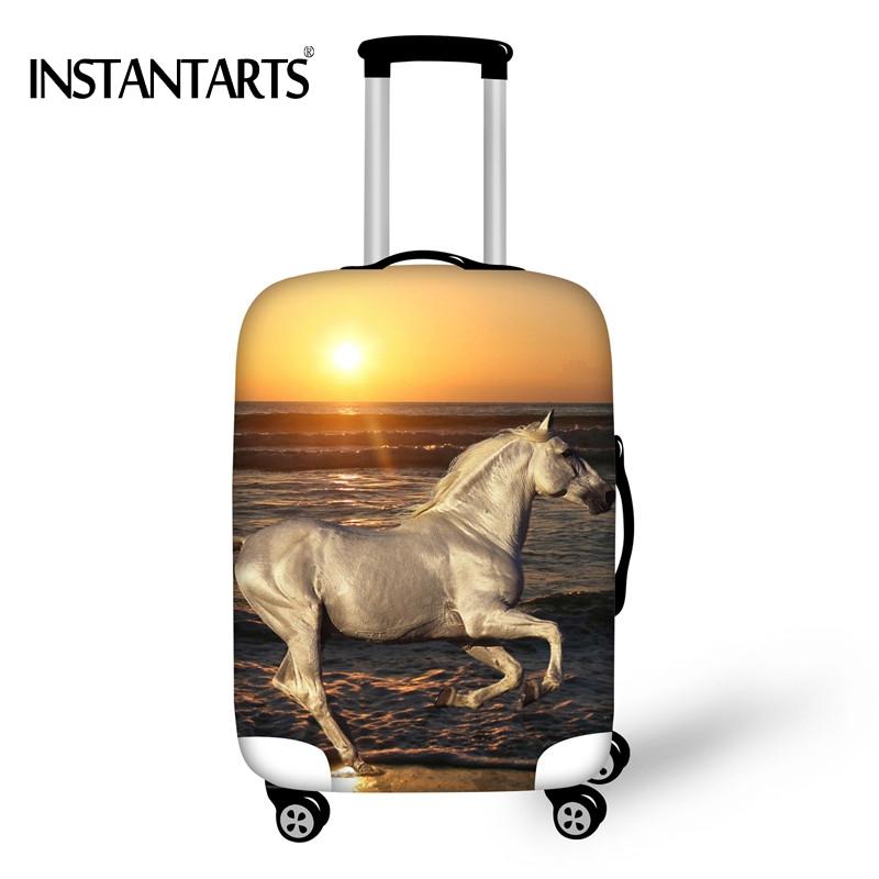 INSTANTARTS Nightfall Sunset Horse Print Travel Luggage Dustproof Covers for 18-30 Inch Suitcase Elastic Case Protective Cover