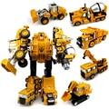 5 en 1 Metal de la Aleación de Ingeniería Transformación Robot Deformación Coche Camión Vehículo Robot Figura de Acción de Construcción de Juguete de Halloween