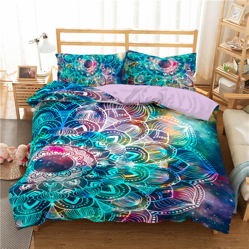 Bedspreads Bedding-Set Duvet-Cover Mushroom Buddha-Printed Mandala Adults Bohemian Queen
