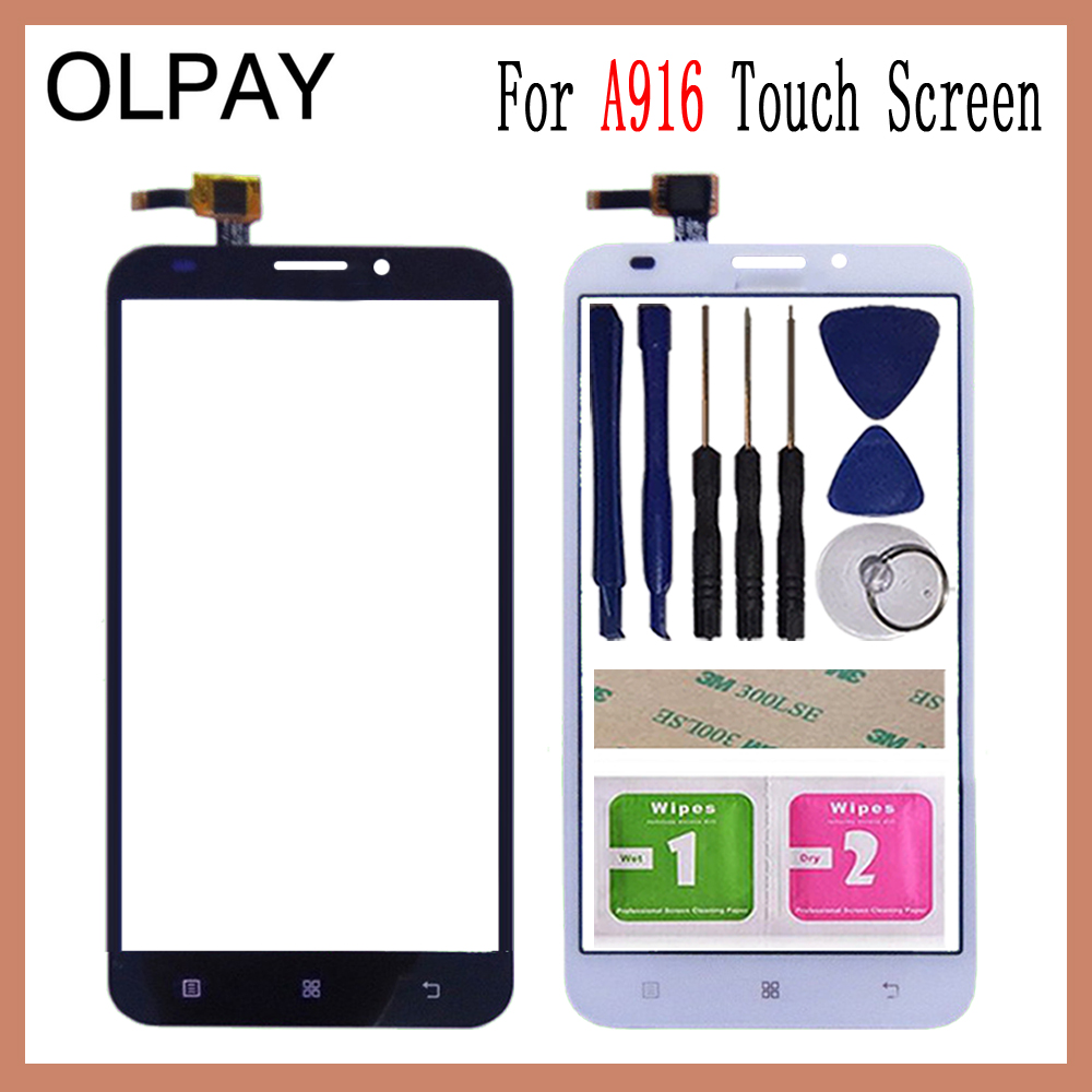 OLPAY 5.5''Front Glass For Lenovo A916 A 916 Mobile Touch Screen Touch Digitizer Panel Sensor Tools Free Adhesive+Wipes
