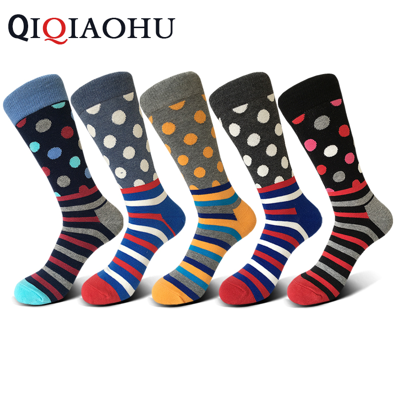 5 pairs/lot Mens funny colorful combed cotton socks high quality spot and strips long happy socks dress wedding socks