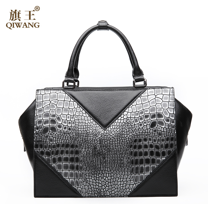ФОТО Qiwang Triangle Brand Women Handbag New Luxury Italian Crocodile Handbags Black Gray Tote Bag Trapeze Large Capacity