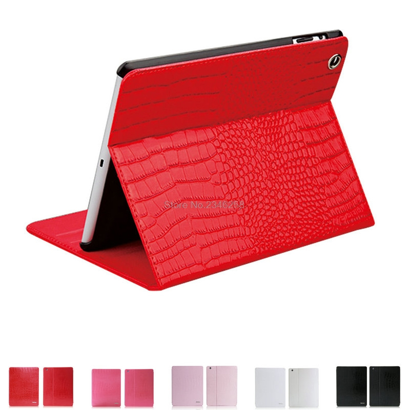 Crocodile Pattern Book Style Folio Flip Stand Smart Cover For iPad Air 2 PU Leather Auto Sleep&Wake-up Feature Case For Air2 eyw for apple ipad air2 ipad 6 luxury crocodile pattern 360 rotation stand folio pu leather smart cover case for ipad air 2