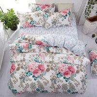 home bedding flower bedding set 3/4pcs bed linen summer duvet cover set elegant wedding bed set home decor pastoral flat sheet