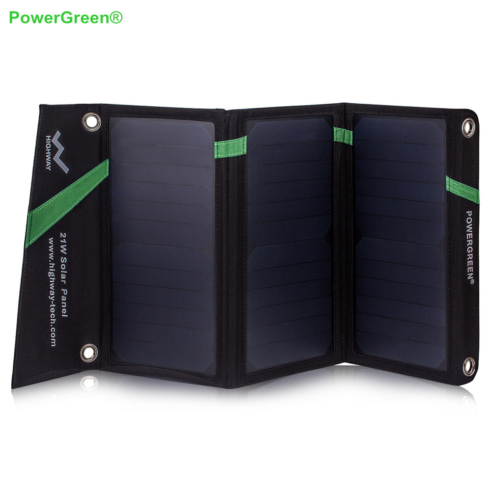 PowerGreen Universal Solar Charger External Battery Backup 21 Watts SUNPOWER Panel Foldable Solar Bag for Phone PowerGreen Universal Solar Charger External Battery Backup 21 Watts SUNPOWER Panel Foldable Solar Bag for Phone