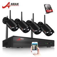 ANRAN Беспроводной безопасности Камера Системы 4CH NVR комплект 960 P HD открытый IP Камера Водонепроницаемый Wi Fi видеонаблюдения Камера Системы
