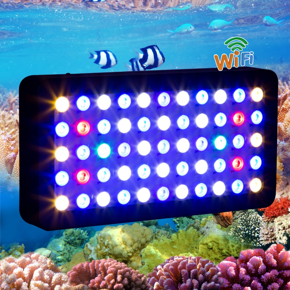 2015 HOT WIFI 165w led aquarium light Dimmable for coral reef fish plant Full Spectrum marine