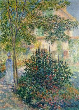 High quality Oil painting Canvas Reproductions Camille Monet in the Garden at the House in Argenteu By Claude Monet hand painted
