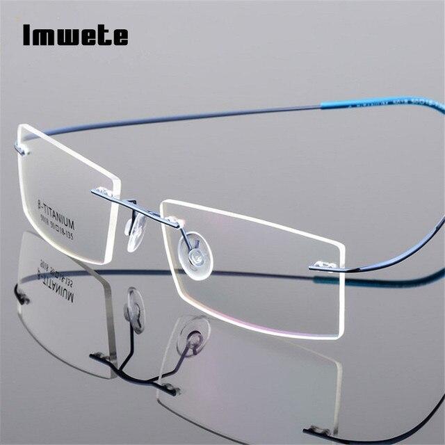 dbc47bcaa0ecb Imwete Leve Armações de Óculos Sem Aro de Titânio Memória Óculos Armação de  óculos de Prescrição