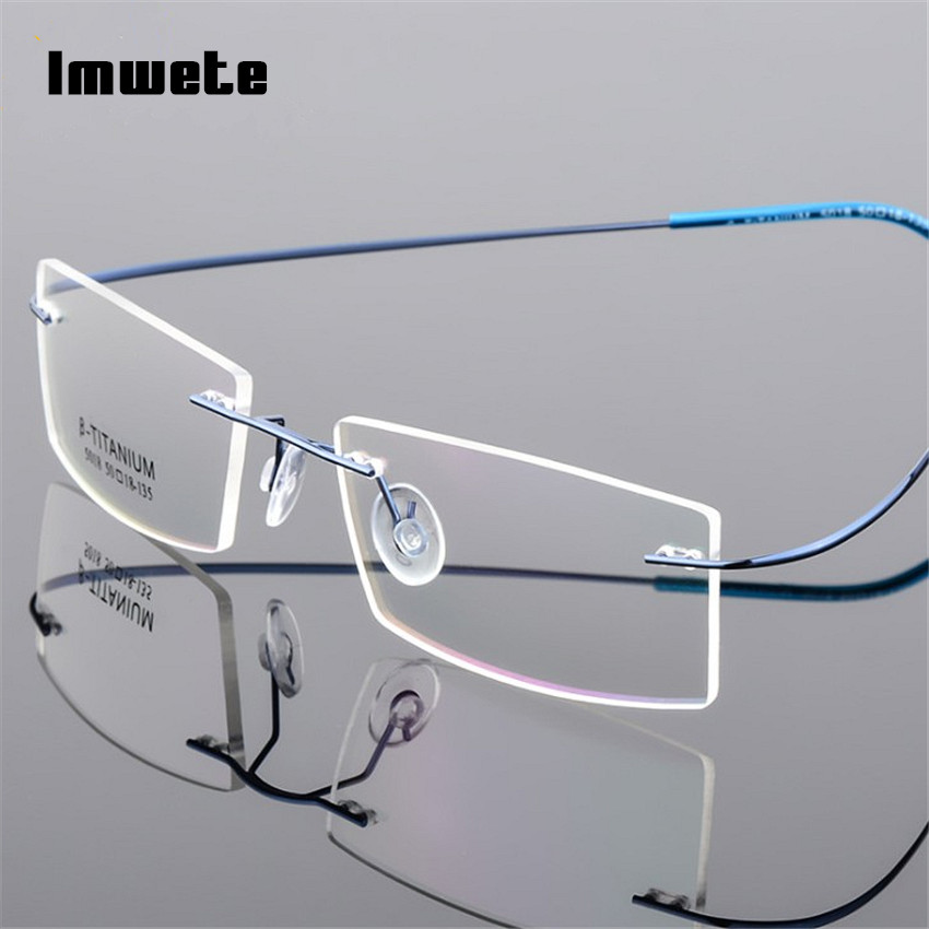 Imwete Lightweight Rimless Glasses Frames Memory Titanium Eyeglasses Frame Spectacle Prescription Optical Frames Myopia