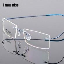 fd42062e8f Imwete Lightweight Rimless Glasses Frames Memory Titanium Eyeglasses Frame  Spectacle
