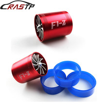 RASTP-Aluminum Double Turbine Turbo Charger Air Intake Gas Fuel Saver Fan Car Supercharger RS-TUR007