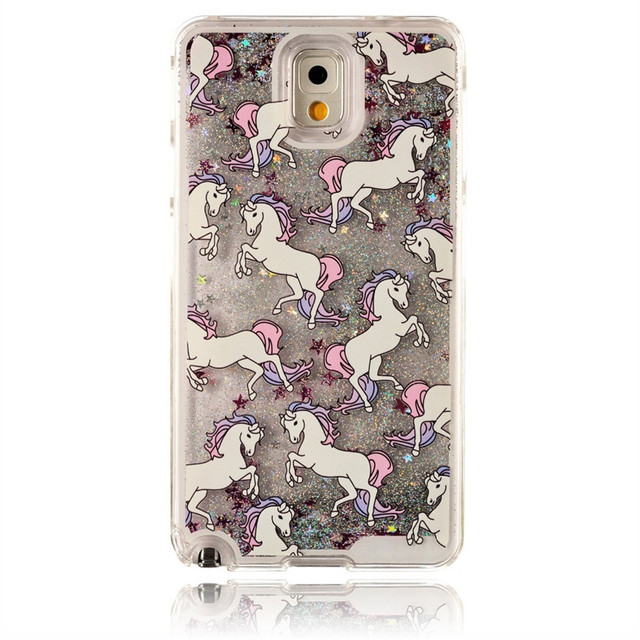 half off 75999 74b6b US $5.65 |Note3 Cartoon Unicorn Horse Dynamic Paillette Glitter Stars Water  Liquid Case Cover for Samsung GALAXY Note 3 Dandelion Printed on ...
