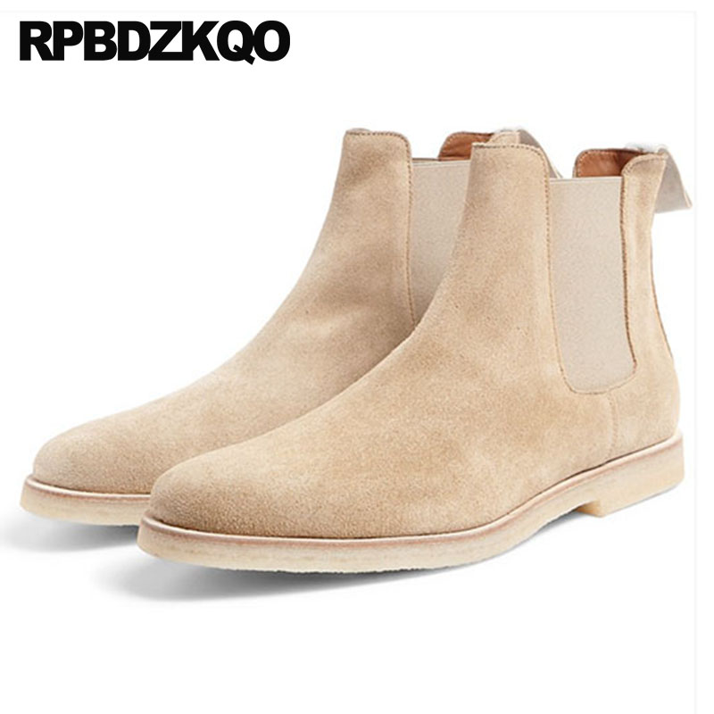 Plus Size Shoes Italian 2018 Suede Ankle Mens Winter Boots Warm Slip On Fashion Faux Fur Chelsea Genuine Leather Booties Male