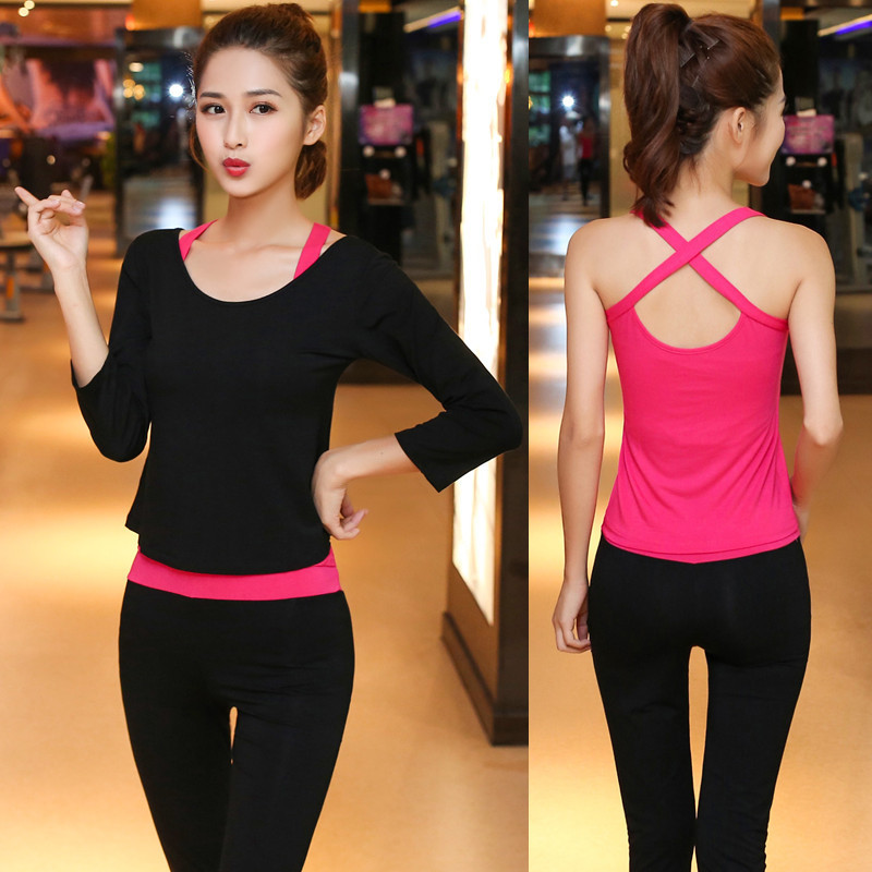 Tshirt Sport Women Fitness Cross Long Vest Exercise Three Piece Suit Breathable Sport Gym Yoga Running Sports Clothes