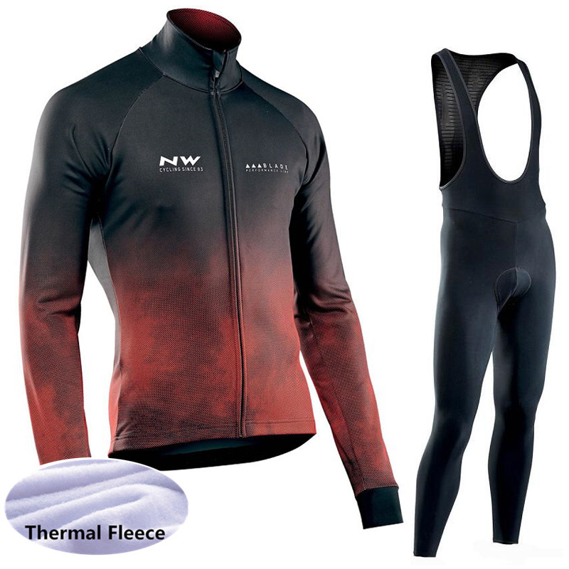 Newest winter cycling clothing men long sleeve thermal fleece bike jersey bib pants set high quality
