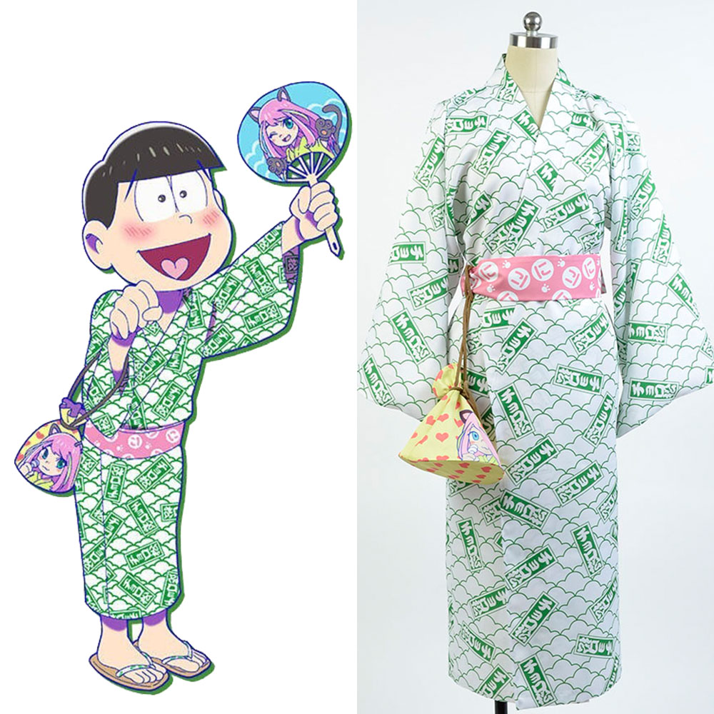 Osomatsu-kun cosplay Choromatsu Yukata Kimono Costume green full set bathrobe cosplay Halloween Party Carnival Christmas Costume