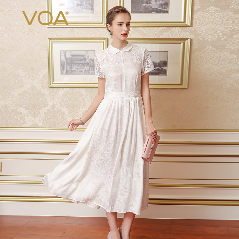 VOA Plus Size Silk Jacquard White Lace Slim Tunic Women Long Dress Short Sleeve Solid Elegant Office Swing Dress Spring A6966