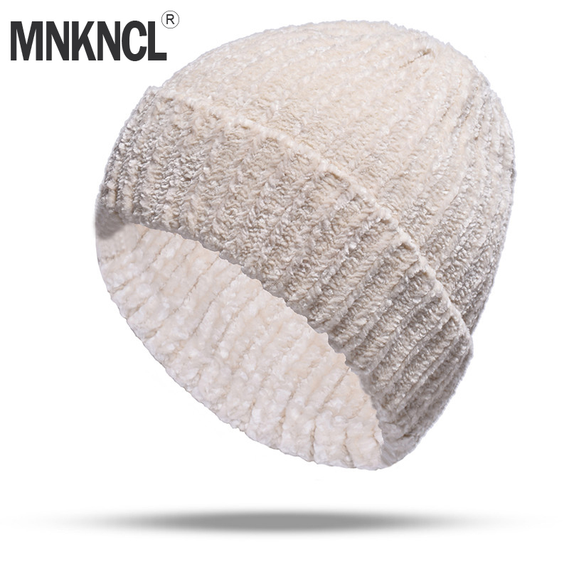 MNKNCL 2018 New Women Autumn And Winter Hat Corduroy Knitted   Skullies     Beanies   Cap Female Keep Warm Hats