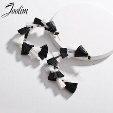 Joolim Jewelry Wholesale/3 Colors C Shape Raffie Tiered Tassel Hoop Earring American
