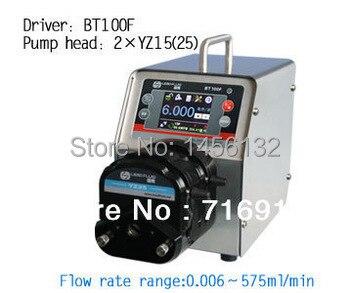 BT100F 2 x YZ25 Интеллектуальный Дозирующий перистальтический насос точный жидкий силиконовый трубный перистальтический насос 0,16 ~ 420 мл/мин.