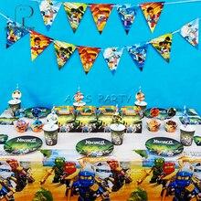 ספקי צד 86pcs עבור 12 ילדים Ninjagoing Jay יום הולדת קישוט כלי שולחן סט, צלחת כוס קש דגל Tablecover צילינדר