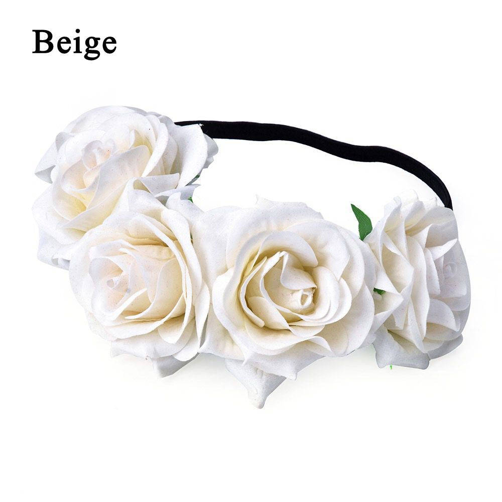 Okdeals 1PC Fashion Bohemia Style Rose Flower Headbands Floral Crown Hairband Wedding Hair Garland Bridal Girls Hair Acessories 6