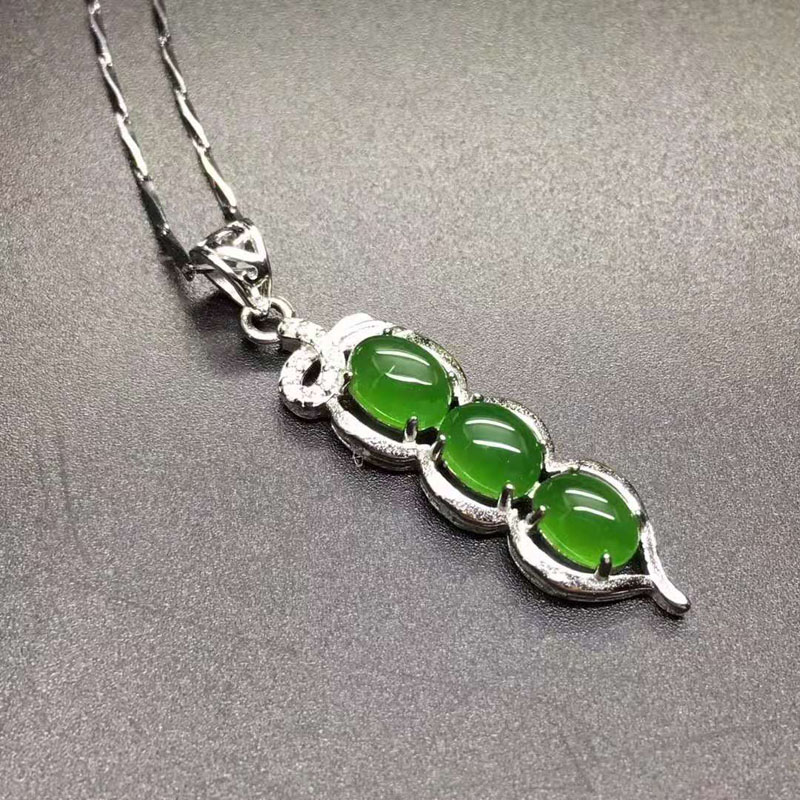 fine jewelry natural hetian jasper carved green bean 925 silver inlay pendant lucky blessing necklace for women jade jewelry fine jewelry natural hetian jasper carved green bean 925 silver inlay pendant lucky blessing necklace for women jade jewelry