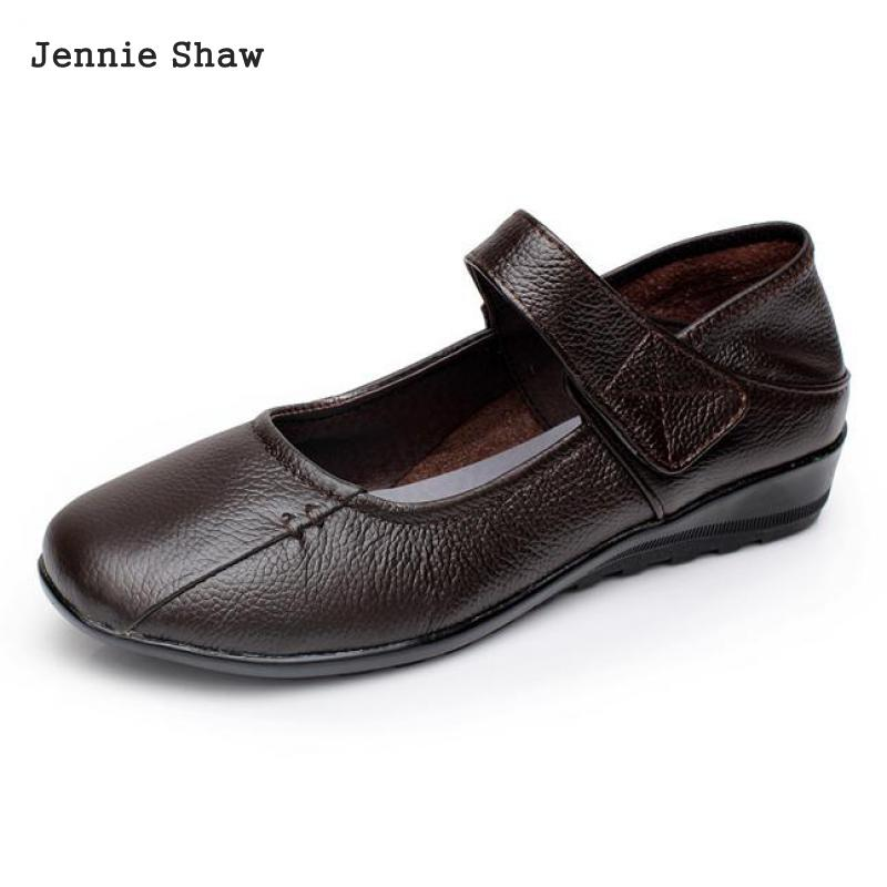Genuine cow leather flats mother shoes flat heel soft leather women's soft outsole flat comfortable shoes size 32 33 40 41 42 43 aiyuqi 2018 new women s genuine leather shoes casual flat bottom breathable wear comfortable mother shoes female size 41 42 43