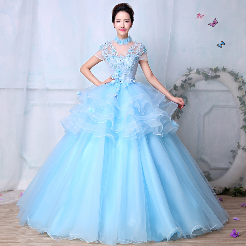 Sweetheart Summer Light Blue Soft Tulle Cake Dresses Stage Performance Masquerade Dresses