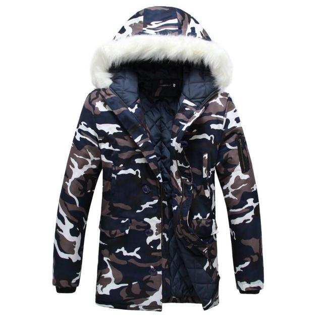 Homens parka inverno Engrossar Amantes jaqueta Camuflada amassado grande gola de pele de algodão-acolchoado jacket casacos tamanho M-5XL Y102