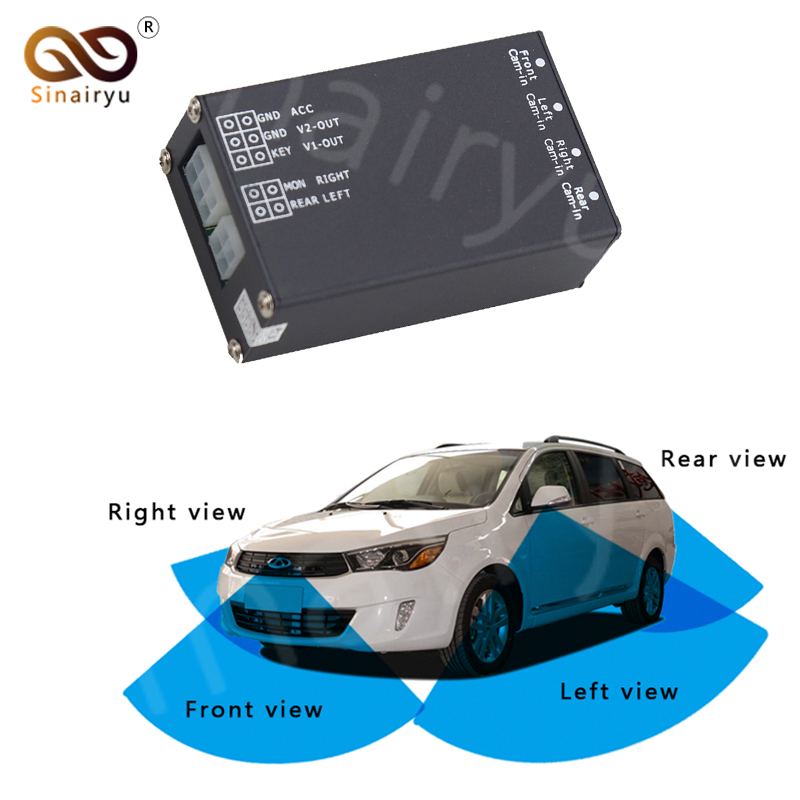 Sinairyu 4 Cameras Video Control Image Switch Combiner Channel Converter Box for Car Driving System Front Rear Left Right View