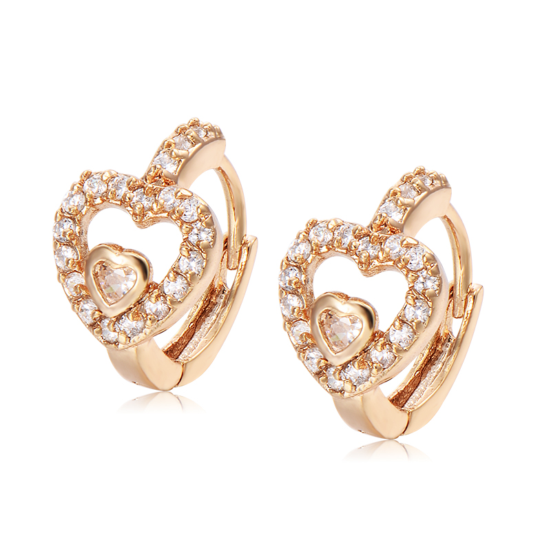 Baby S Children Womens Hoop Huggie Earrings Yellow Gold Filled Cubic Zirconia Crystal Double Heart Lovely Whole Lot In From Jewelry