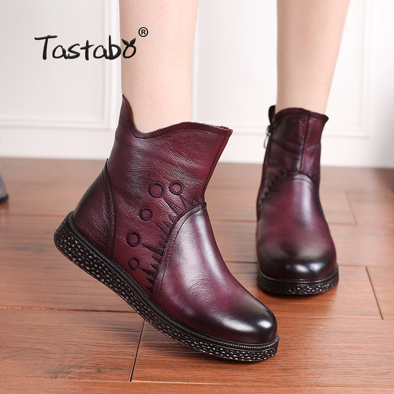 Tastabo Cow Genuine leather Ankle Boots for Women 2019 fashion Casual Ladies Mom Mother Shoes Flats