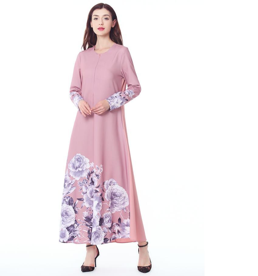 Muslim women Long sleeve Dress maxi long dress islamic clothing elegant embroidery ethnic vintage dress tunic a524