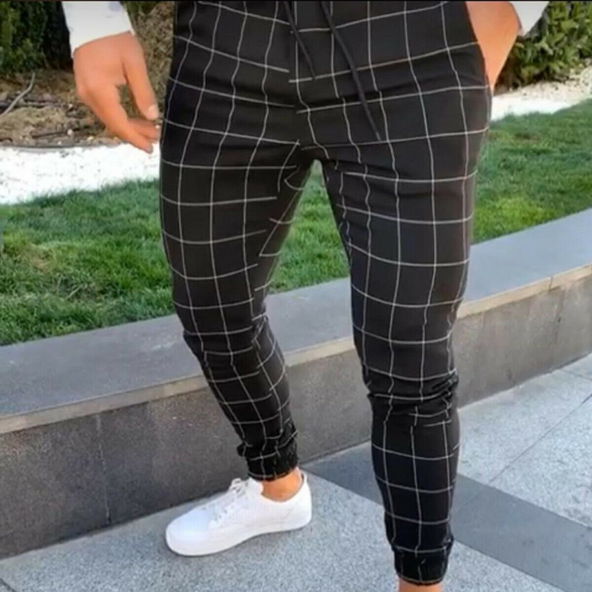 2019 sexy high wasit spring summer fashion pocket Men's Slim Fit Plaid Straight Leg Trousers Casual Pencil Jogger Casual Pants 1