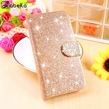 Stand Filp Glitter Bling Cell Phone Shell For BQ Aquaris E4 Housing Bags For BQ E4 Cases Covers Rhinestone PU Wallet Holster
