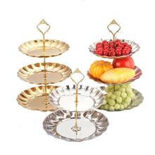 Obst Platten Stehen Gebäck Tablett Süßigkeiten Gerichte Kuchen Desserts 2/3 Schicht Edelstahl Partei Dekoration 2017 Kostenloser Versand