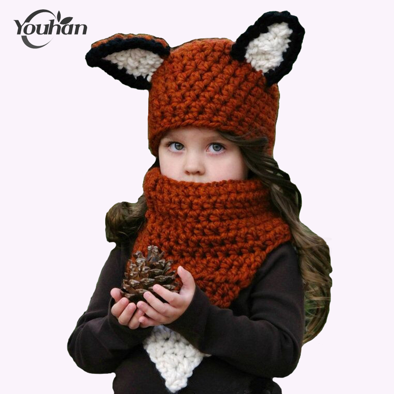 Children Scarf Hat Sets Handmade Wool Neck Hood Squirrel Mouse Orange Squat Cap Hats Squirrel Shape Skeletal Cap Christmas Gift knitted skullies cap the new winter all match thickened wool hat knitted cap children cap mz081