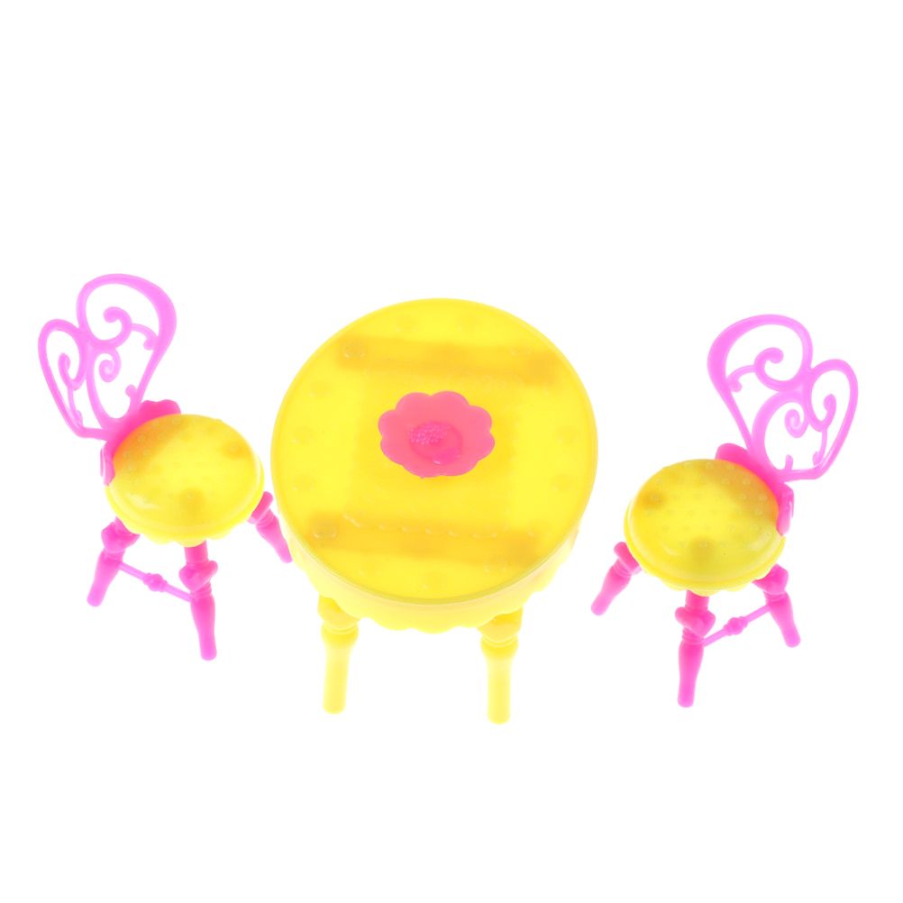 1 Set Poppenhuis Tafel Stoel Miniatuur (2 Stks Stoelen + 1 Stks Tafel) Vintage Tafel Stoelen Voor Meisje Poppen Meubels Eetkamer Sets Speelgoed