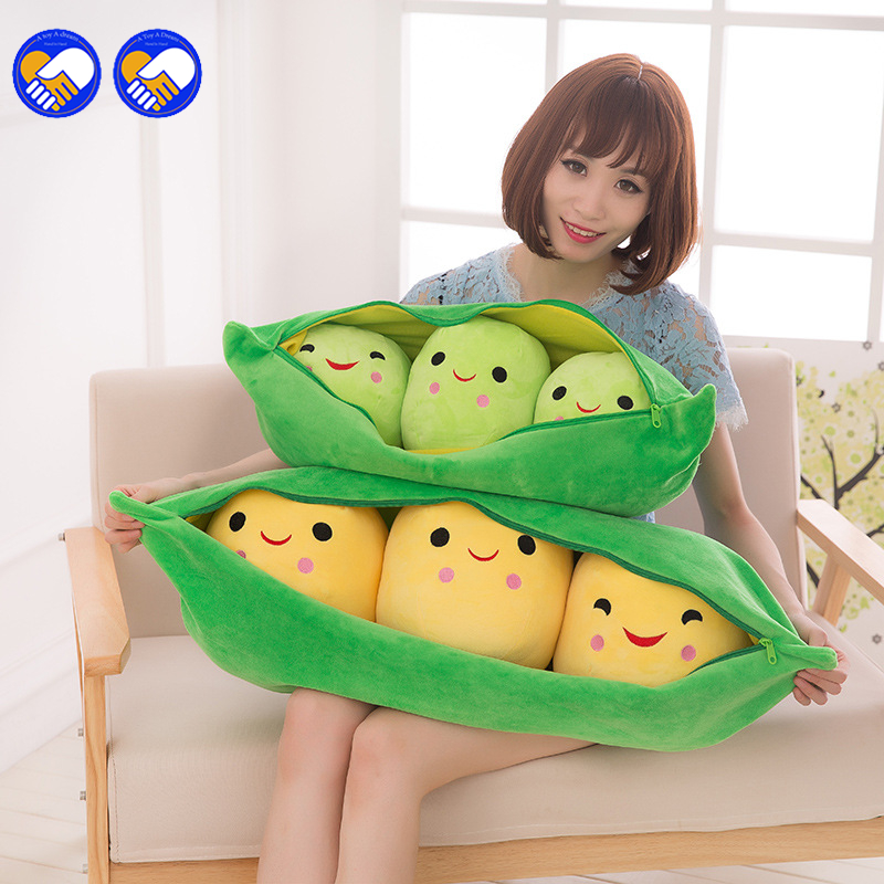 A toy A dream 1pcs Kids Baby Plush Toys For Children Cute Pea Stuffed Plant Doll Girlfriend Kawaii Gift Toy Random Color
