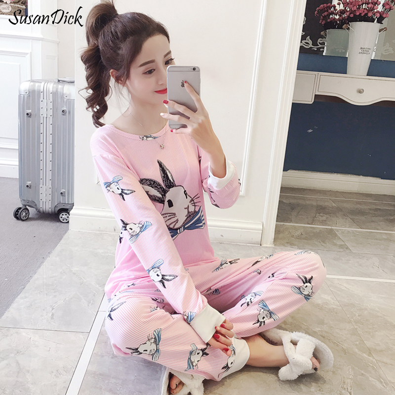 SusanDick New Pajama Sets Women Spring Autumn Long Sleeve Pijama Animales Rabbit Sweet Home Clothes Lady Casual Kawaii Sleepwear