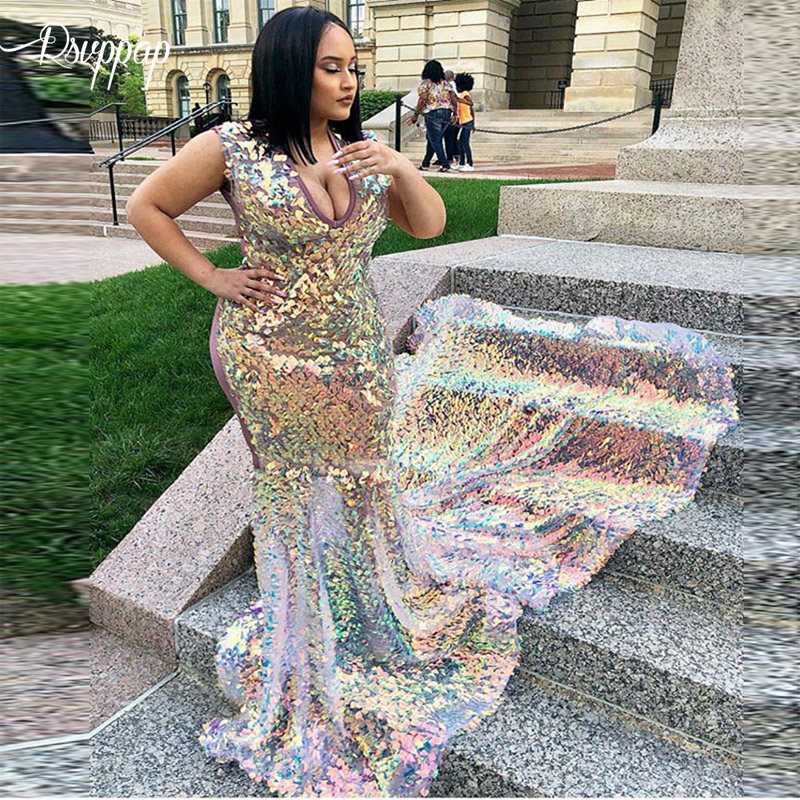 Long Sparkly Prom Dresses 2019 Stunning Bling Bling Mermaid V-neck Long Train African Black Girl Mermaid Prom Dress