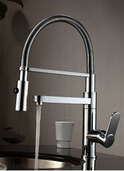 2014 new!Solid Brass Thicken Chrome Two outlet spring kitchen faucet .hot and cold water pull out vegetables basin sink taps