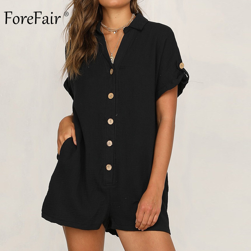 Forefair Summer Short Sleeve Linen Playsuit Women Rompers Casual Button Up Pockets Tube Loose Wide Leg Sexy Jumpsuit Shorts
