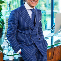 Summer Navy Blue Stripe Men Suit for Business Formal Male Blazers Double Breasted Suits Wide Peaked Lapel Slim Fit Men's Jacket