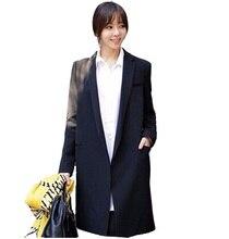 New 2016 Autumn Women long coat black Small suit loose blazer slim jacket women's  thin plus size outerwear