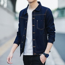 Denim jacket spring new mens casual denim thin section large size S-XXXL solid color tooling cotton