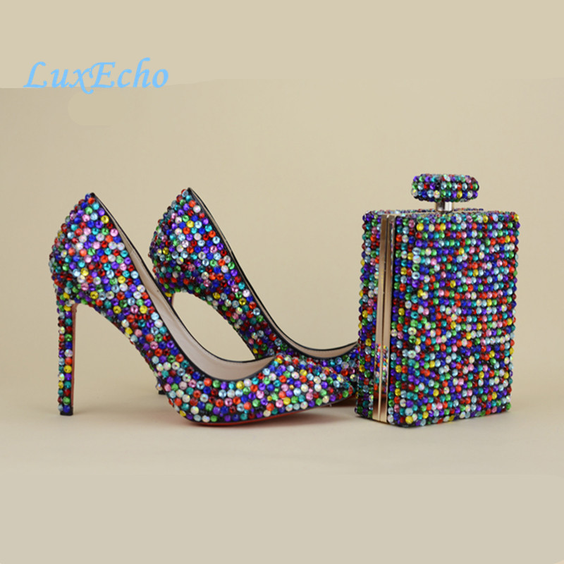 New Arrival Multicolor rhinestone wedding shoes sets high shoes women's Pumps platform shoes party shoes and bags new arrival ivory pearl party shoes woman wedding dress shoes and purse sets high heel platform shoes women s pumps